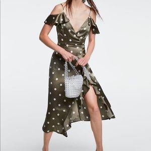 Zara Polka Dot Satin Midi Dress